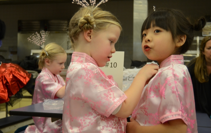"""Two """"Chinese Tea Cups"""" get ready for their performance. Photo: Carl Glassman/Tribeca Trib"""