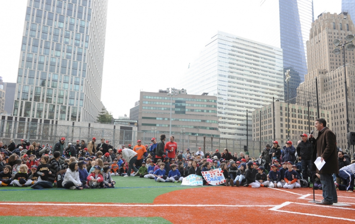 "Little League president Bill Martino tells the crowd, ""It's very important that we honor these fields."" Carl Glassman/Tribeca Trib"