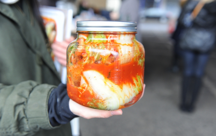 A finished jar of kimchi. It should remain a few days at room temperature, then refrigerated for more fermentation.