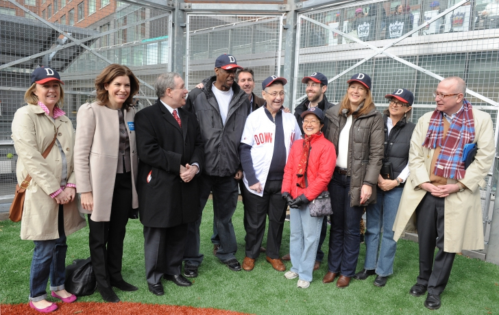 The community and political leaders (and former All Star pitcher Dwight Gooden) who participated in the opening day ceremony. Carl Glassman/Tribeca Trib