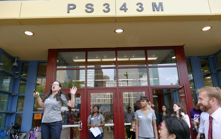 Principal Maggie Siena prepares to ring the bell, starting the very first school day of P.S. 343. Photo: Carl Glassman/Tribeca Trib