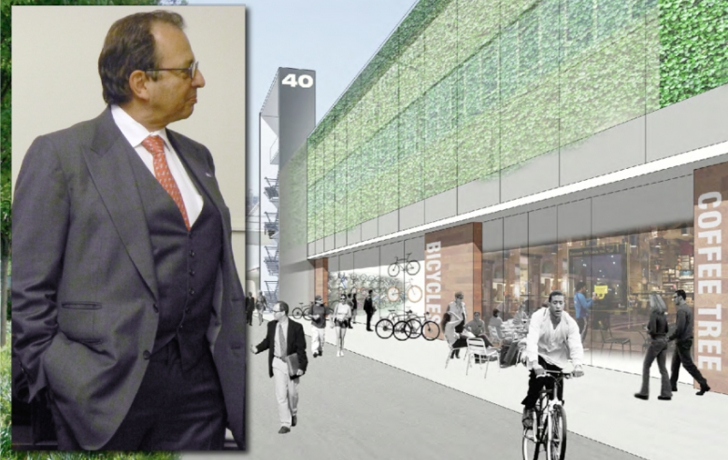 "Douglas Durst at the presentation of his concept for the ""adaptive reuse"" of Pier 40 and a rendering of the reimagined Pier 40 facade. Rendering by Dattner Architects; Photo of Durst by Carl Glassman/Tribeca Trib"