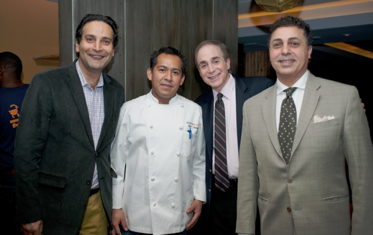 From left: Abraham Merchant, Chef Antelmo Ambrosio, Glenn Plaskin, and restaurant consultant Karim El Sherif. Photo by Robert Braunfeld