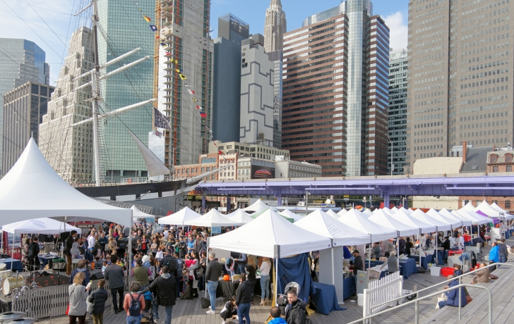 In A First Crowds Get Their Taste Of The Seaport On The