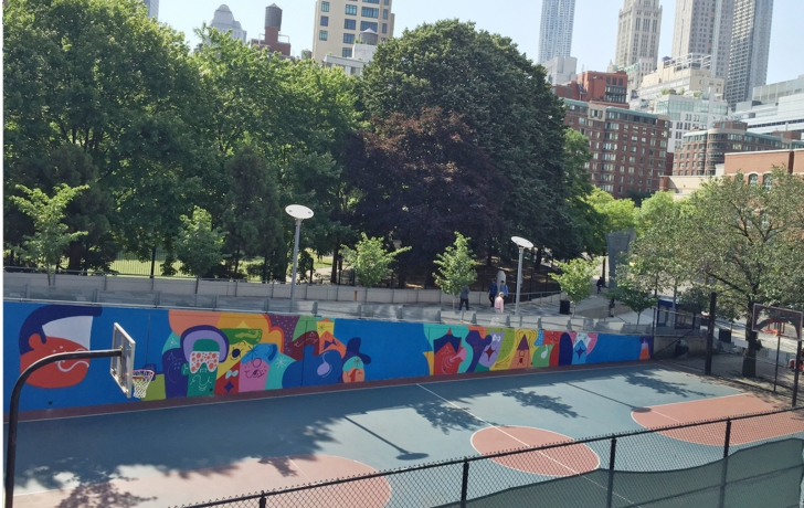 Overnight a 90 foot mural graces basketball court in for Basketball court mural