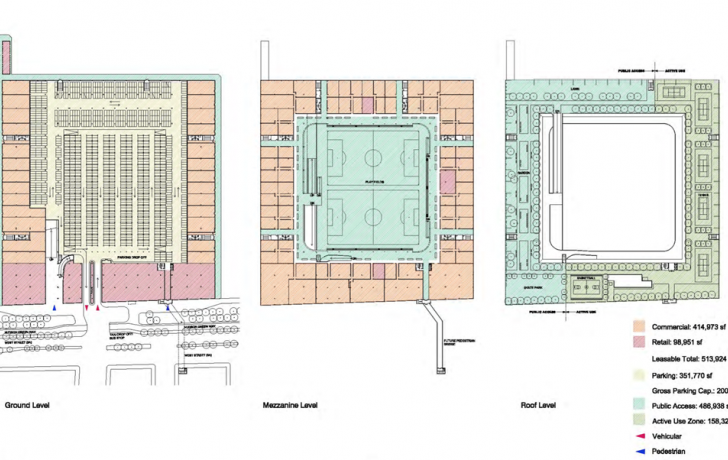 The proposed three levels of Pier 40. The redone pier would have just over half-a-million square feet of leasable space, and just under half a million square feet of public access space.