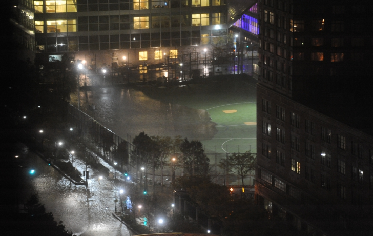 The Battery Park Ball Fields on Monday night.