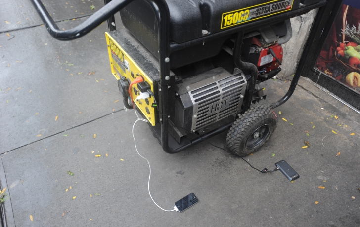 Cell phones were being charged at an outside generator near the Amish Market.