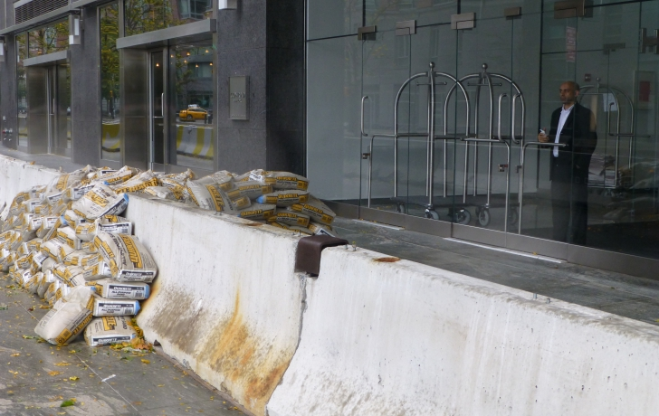 Sandbags in front of the Conrad Hotel in Battery Park City.