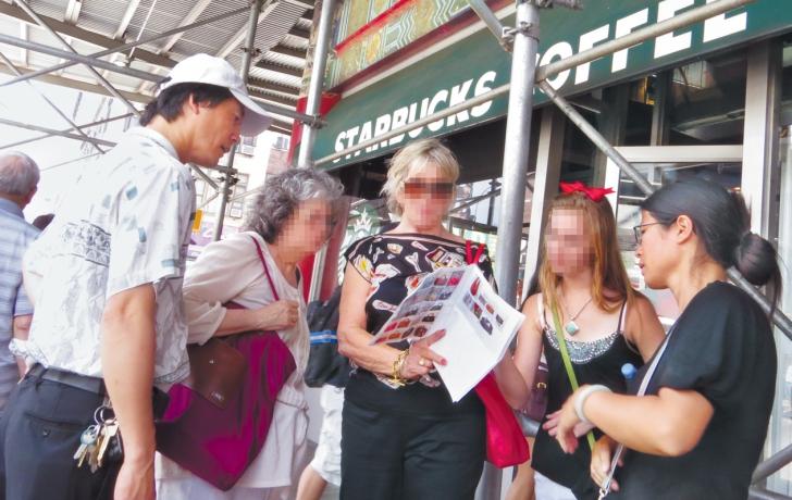 20b02dfc95e2 Tourists shopping for knock-off handbags near Canal Street. Photos by Carl  Glassman Tribeca Trib