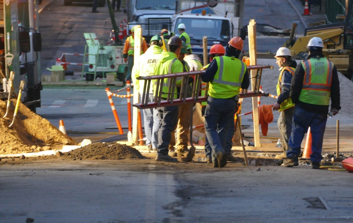 On Sunday night, following the removal of the crane from Worth Street, crews from the city's Department of Environmental Protection worked at repairing two water main leaks. Photo: Carl Glassman/Tribeca Trib