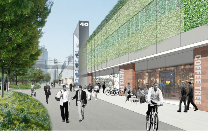 "The exterior of the building would be covered in a ""vertical planted screen."" A possible future pedestrian bridge across West Street is included in the drawings, but not the project development costs."