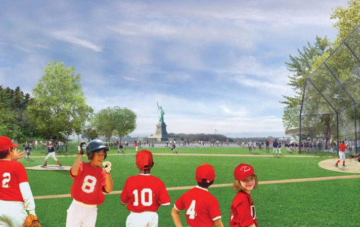 Features of Governors Island's southern 30-acre park will include two ball fields suitable for adult softball and Little League baseball, a six-acre plaza with seating, plantings and public art, and Hammock Grove, a shady, 10-acre space comprised of play areas, hammocks and trees. The southern ball field will be constructed where Building 877 once stood. Rendering courtesy of the Trust for Governors Island.