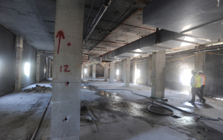 The first floor of the building would contain the most explosives. Dynamite used to implode the building was inserted into the 900-plus holes bored into the building's columns. Photo: Carl Glassman/Tribeca Trib